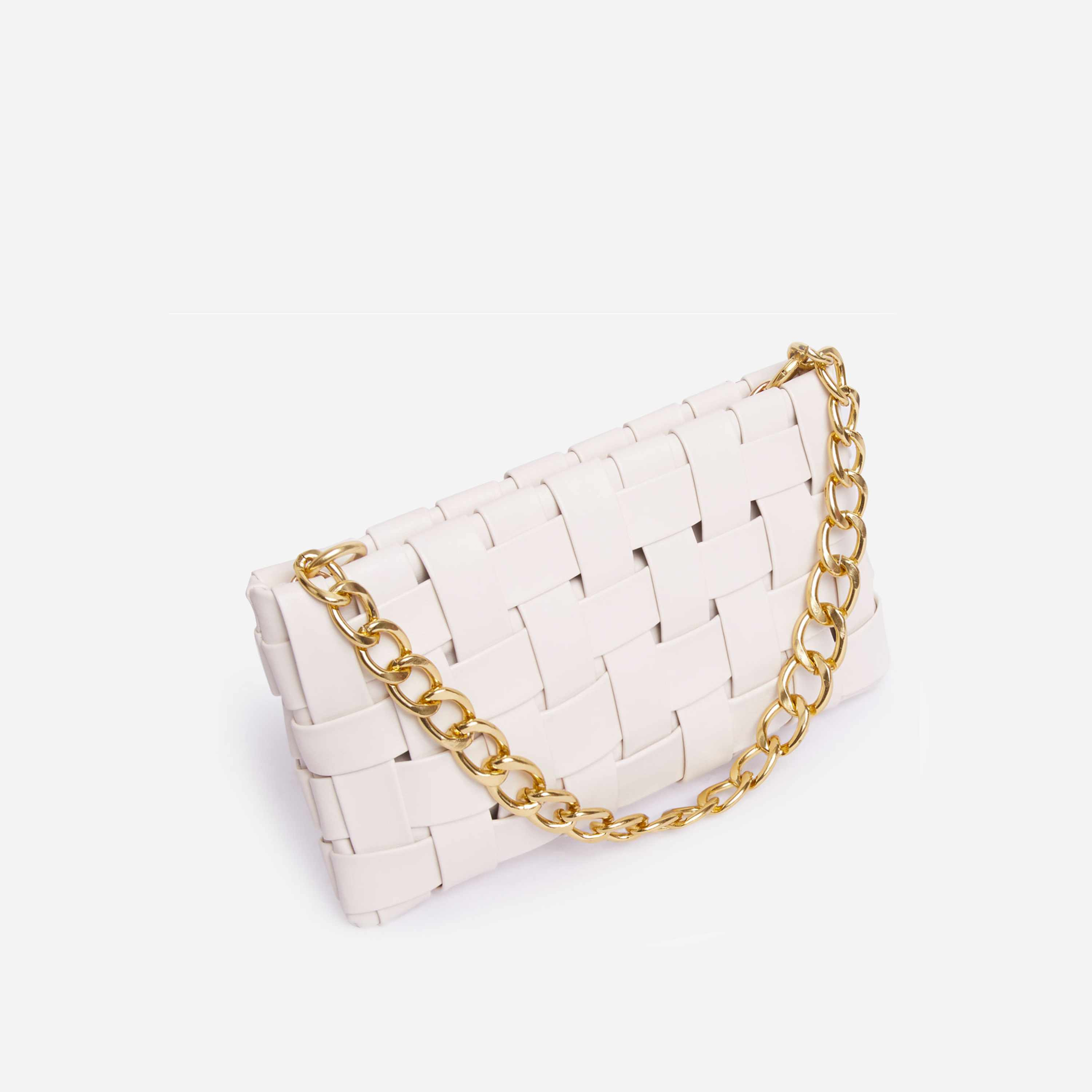 Blogger Woven Shoulder Bag In White Faux Leather