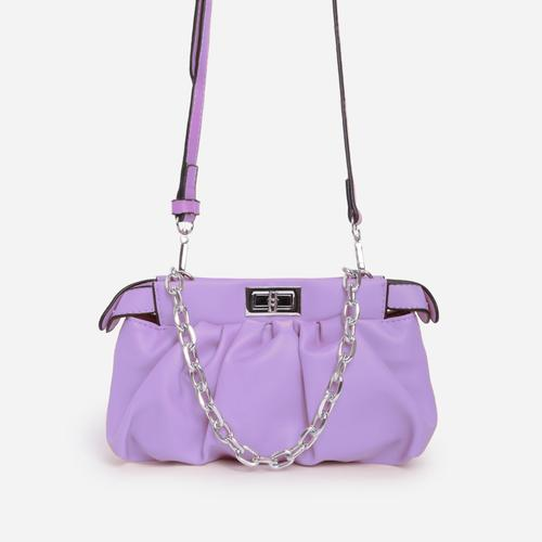 Royal Chain Detail Ruched Cross Body Bag In Purple Faux Leather