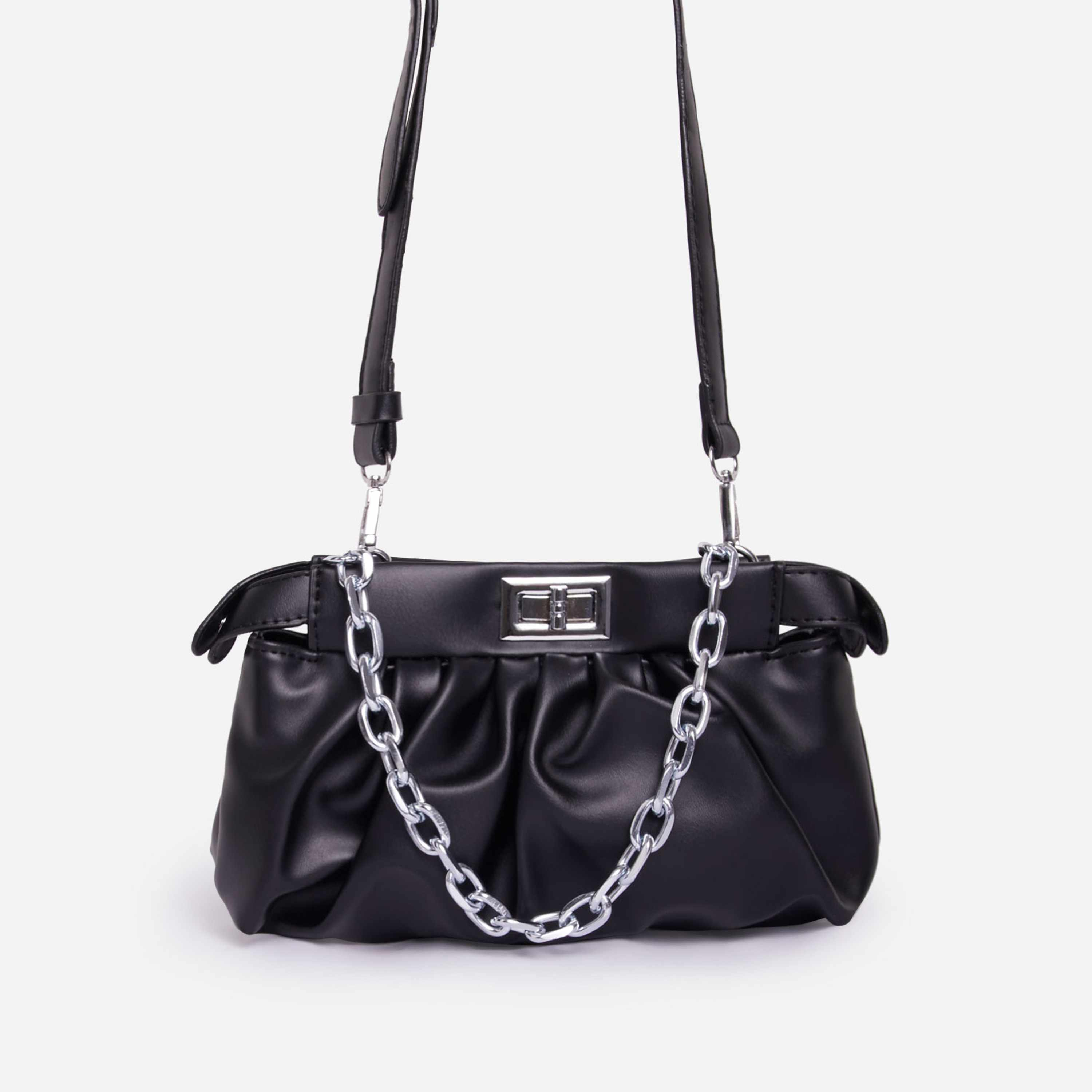 Royal Chain Detail Ruched Cross Body Bag In Black Faux Leather