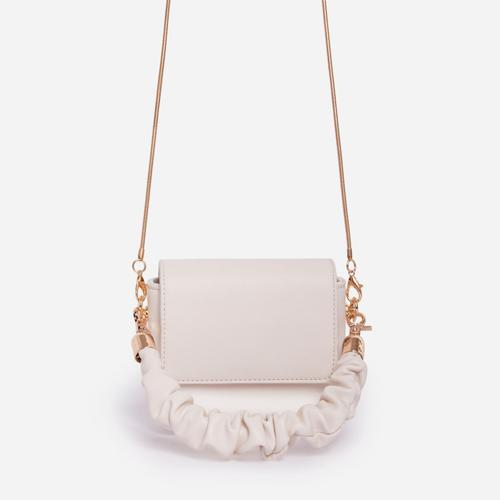 Chill Ruched Handle Grab Bag In White Faux Leather