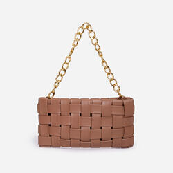 Blogger Woven Shoulder Bag In Nude Faux Leather
