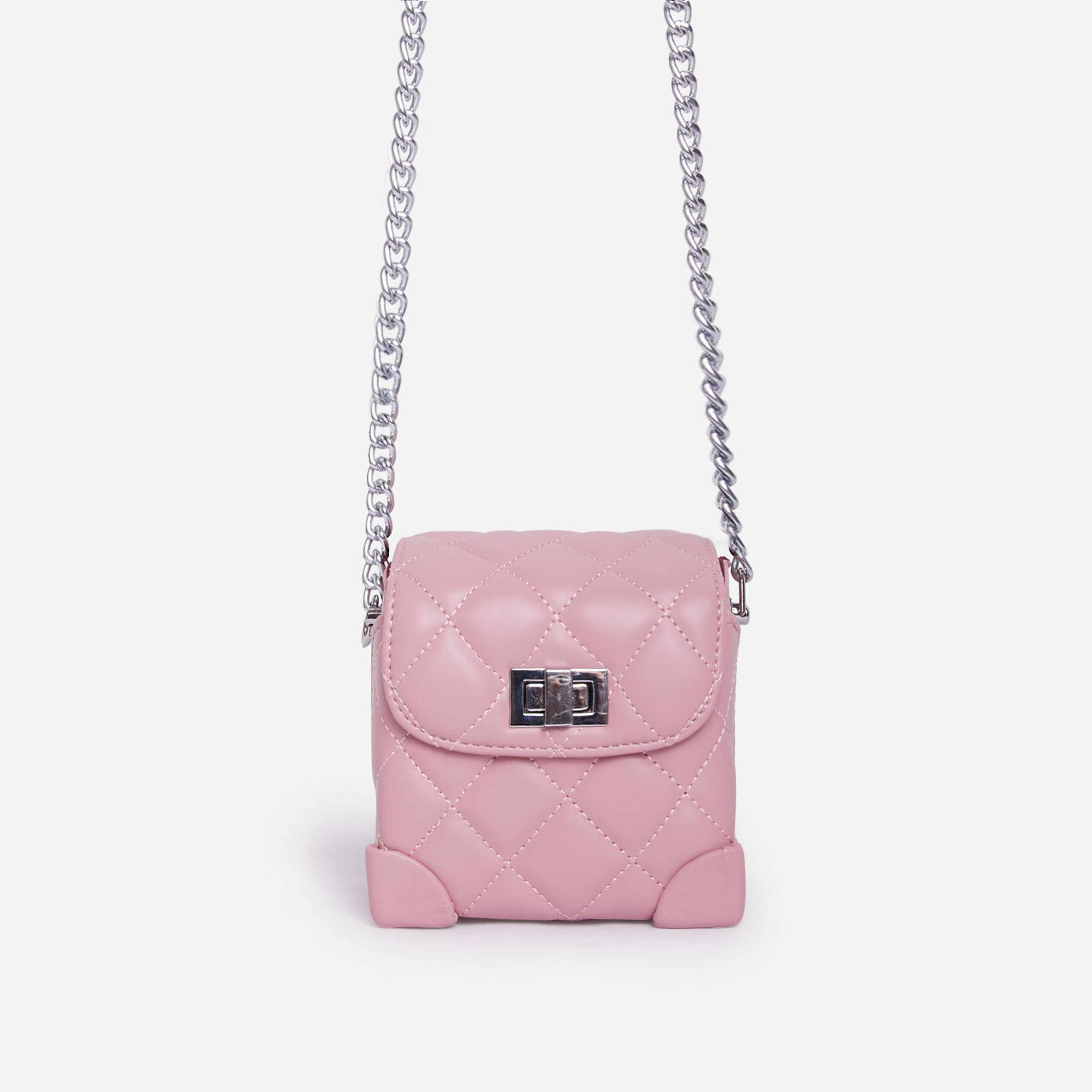 Saint Chain Detail Quilted Cross Body Mini Bag In Pink Faux Leather