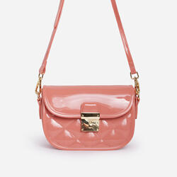 Penny Quilted Cross Body Mini Bag In Peach Patent