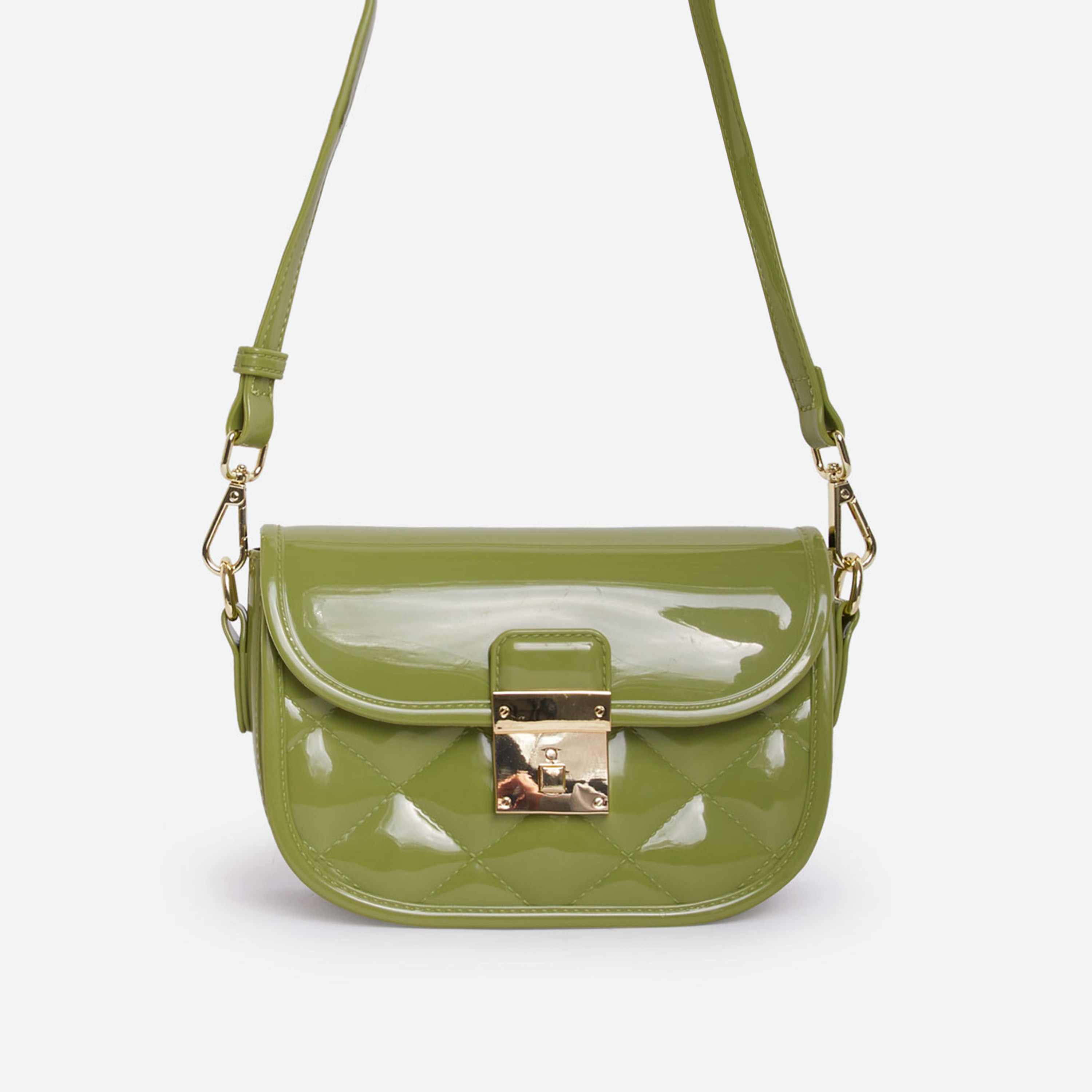Penny Quilted Cross Body Mini Bag In Green Patent