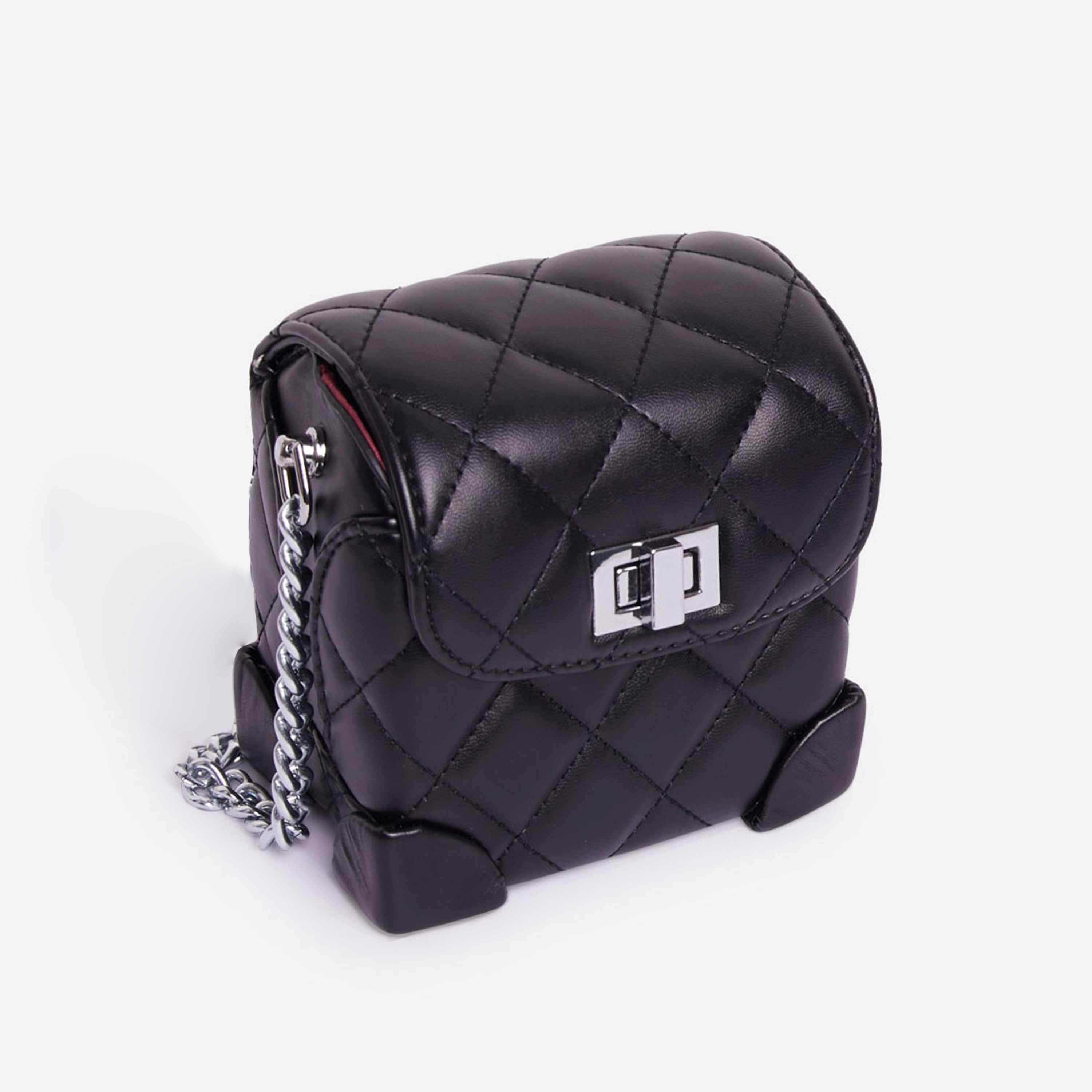 Saint Chain Detail Quilted Cross Body Mini Bag In Black Faux Leather