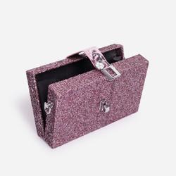 Glam Chain Detail Mini Cross Body Bag In Pink Glitter