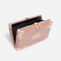 Palm Floral Detail Woven Box Bag In Tan Brown