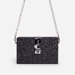 Glam Chain Detail Mini Cross Body Bag In Black Glitter