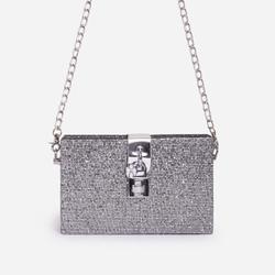 Glam Chain Detail Mini Cross Body Bag In Silver Glitter