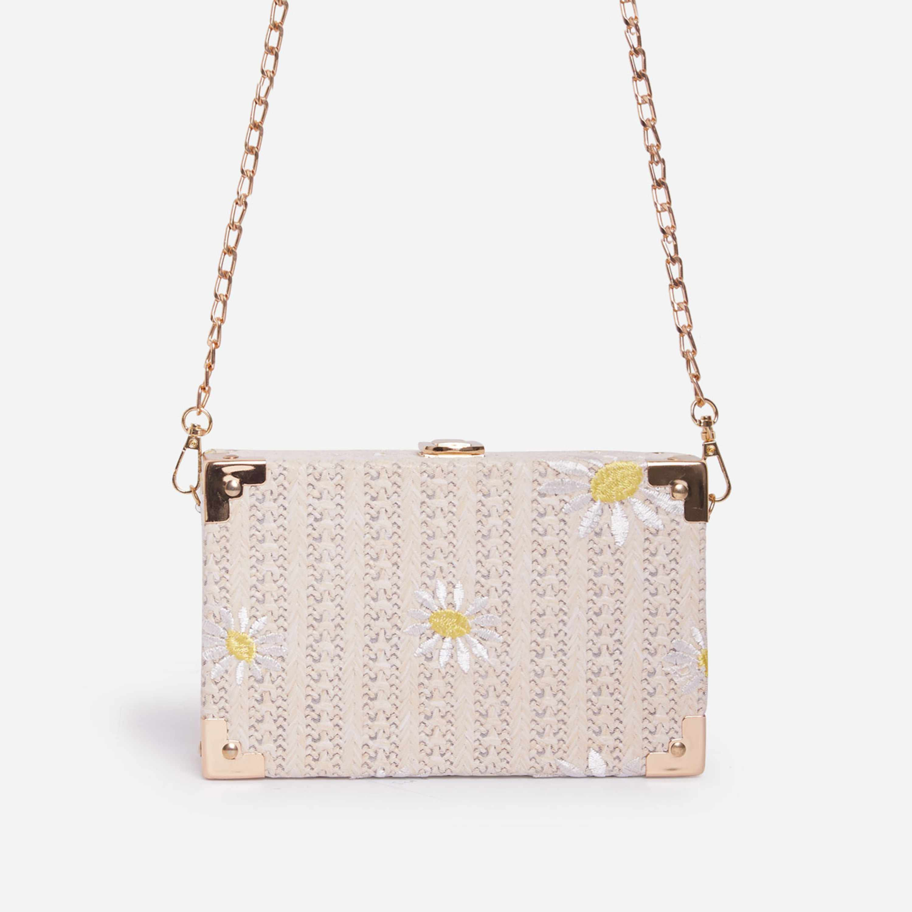 Palm Floral Detail Woven Box Bag In Nude