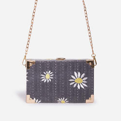 Palm Floral Detail Woven Box Bag In Black