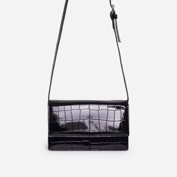 Nessa Envelope Cross Body Bag In Black Croc Print Patent