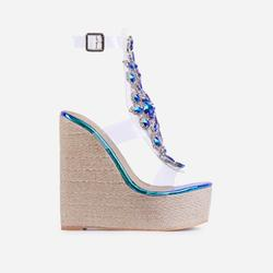 Mash-Up Diamante Gem Detail Caged Espadrille Wedge Platform Hell In Blue Holographic Snake Print Faux Leather