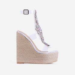 Mash-Up Diamante Gem Detail Caged Espadrille Wedge Platform Hell In Silver Holographic Snake Print Faux Leather