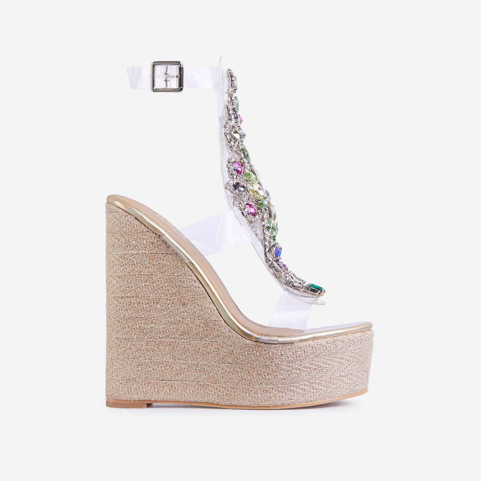 Mash-Up Diamante Gem Detail Caged Espadrille Wedge Platform Hell In Gold Faux Leather