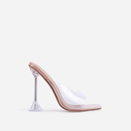 Tickled Square Peep Toe Clear Perspex Sculptured Heel Mule In Nude Patent