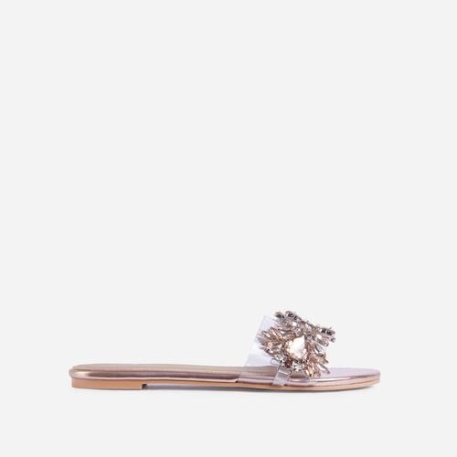 Duchess Diamante Gem Detail Perspex Flat Slider Sandal In Rose Gold Faux Leather