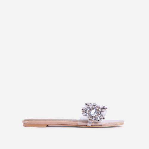 Duchess Diamante Gem Detail Perspex Flat Slider Sandal In Nude Patent