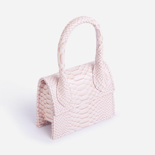 Nellie Super Mini Grab Bag In Textured Pink Snake Print Faux Leather