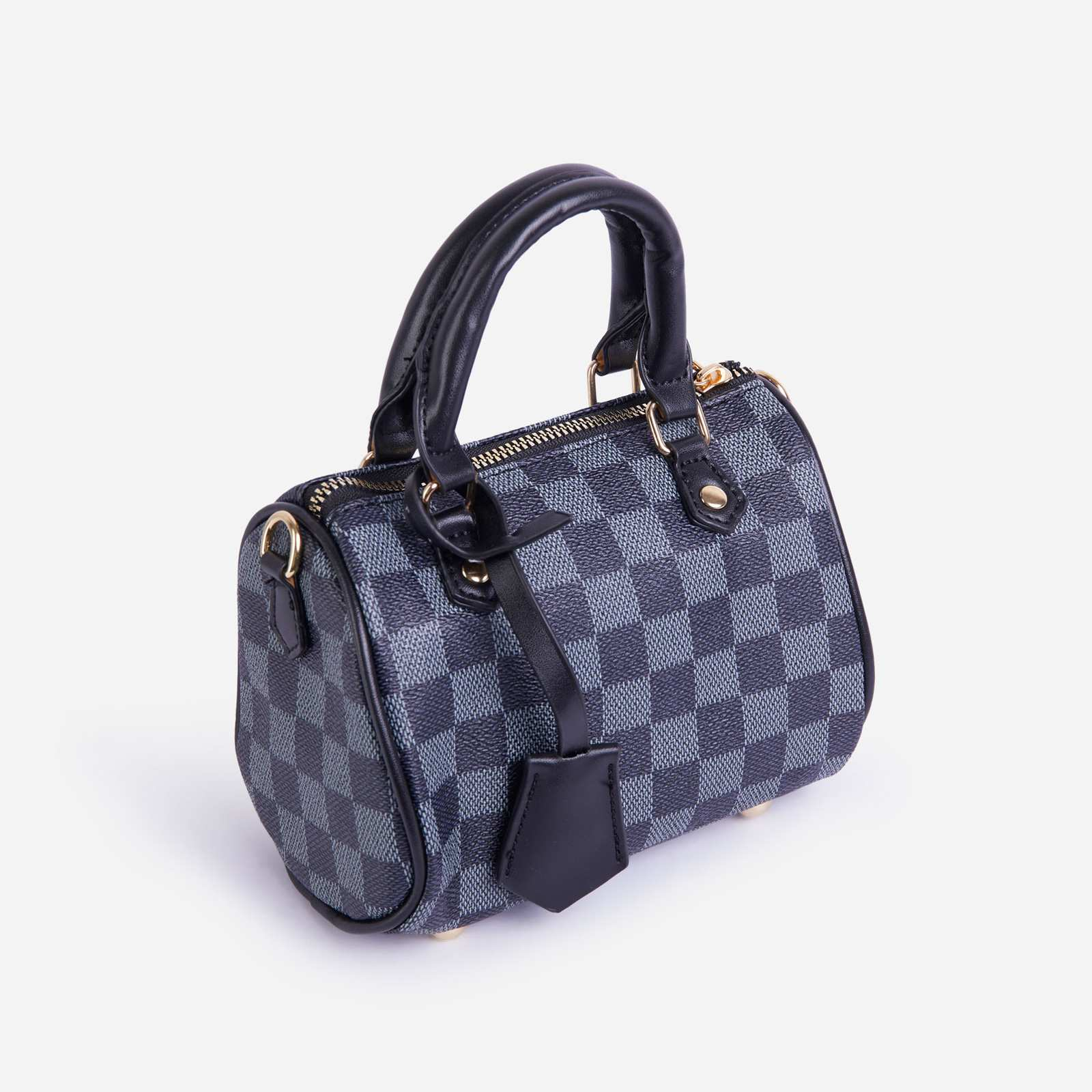 Lana Mini Bowling Bag In Black Check Print Faux Leather