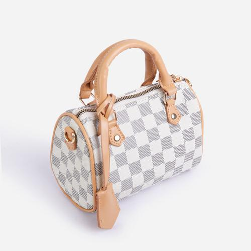 Lana Mini Bowling Bag In Grey Check Print Faux Leather