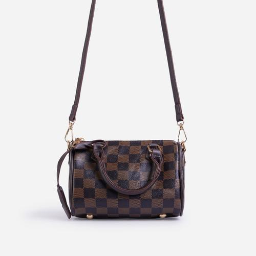 Lana Mini Bowling Bag In Brown Check Print Faux Leather