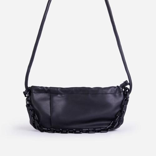 Oakley Chain Detail Curved Shoulder Bag In Black Faux Leather