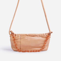 Oakley Chain Detail Curved Shoulder Bag In Nude Faux Leather