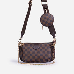 Mika Checked Chain And Purse Detail Cross Body Bag In Brown Faux Leather