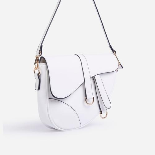 Issy Curved Cross Body Saddle Bag In White Faux Leather