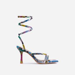 South-Beach Lace Up Square Toe Kitten Heel In Multi Colour Snake Print Faux Leather