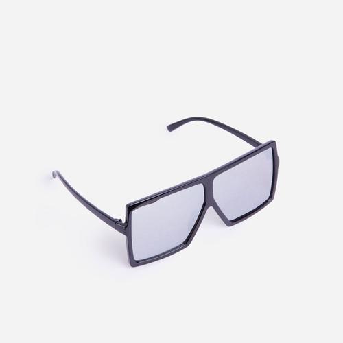 Oversized Square Visor Sunglasses In Silver