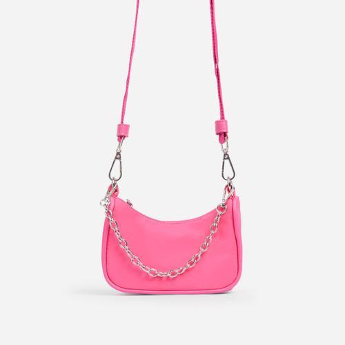 Truth Kid's Mini Chain Detail Pouchette Bag In Pink Nylon
