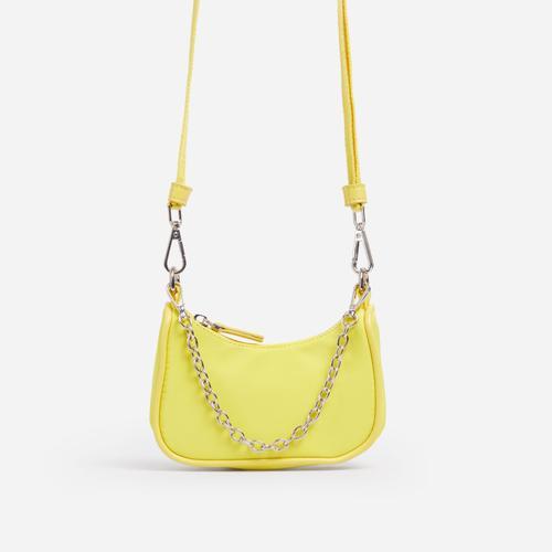 Truth Kid's Mini Chain Detail Pouchette Bag In Yellow Nylon