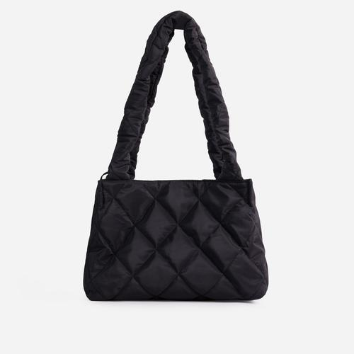 Shae Quilted Puffa Shopper Bag In Black Nylon