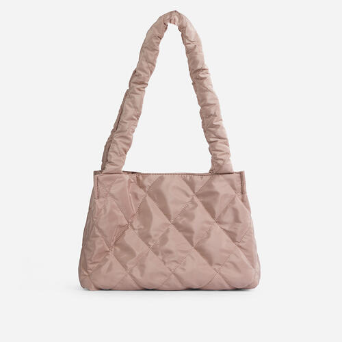 Shae Quilted Puffa Shopper Bag In Nude Nylon