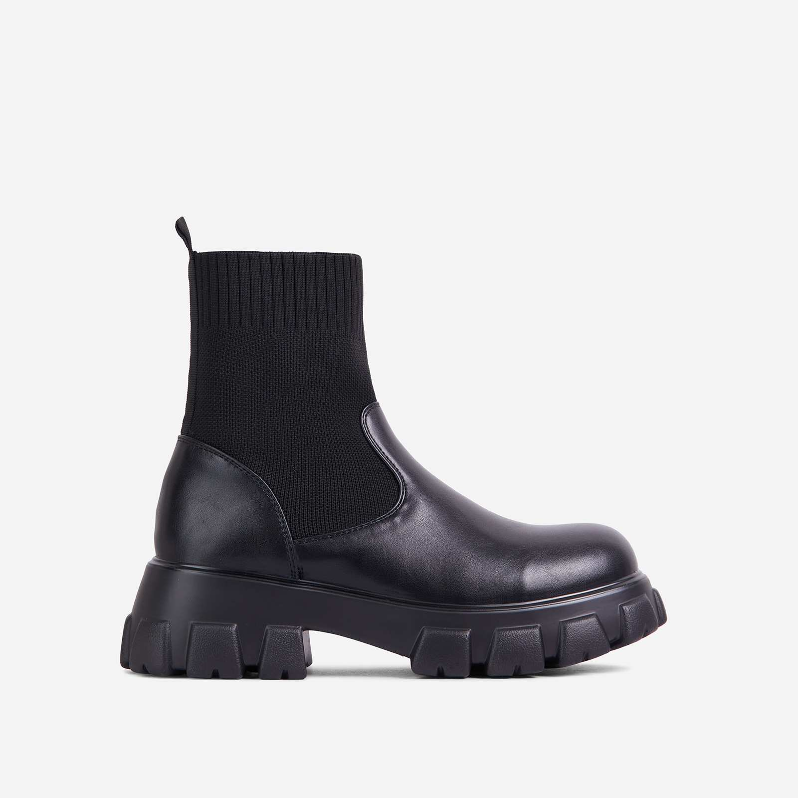 Maine Knitted Chunky Sole Ankle Chelsea Biker Boot In Black Faux Leather