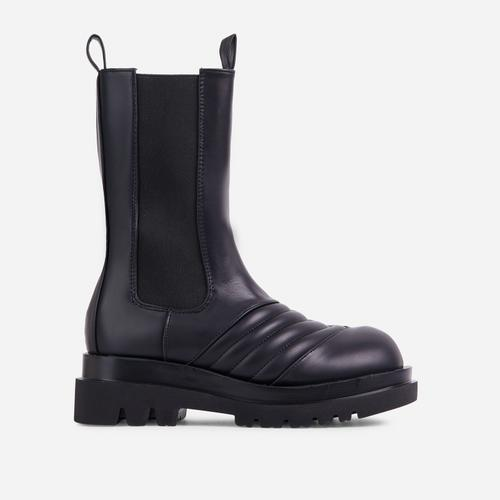 Ayah Stitch Detail Mid Calf Ankle Biker Boots In Black Faux Leather