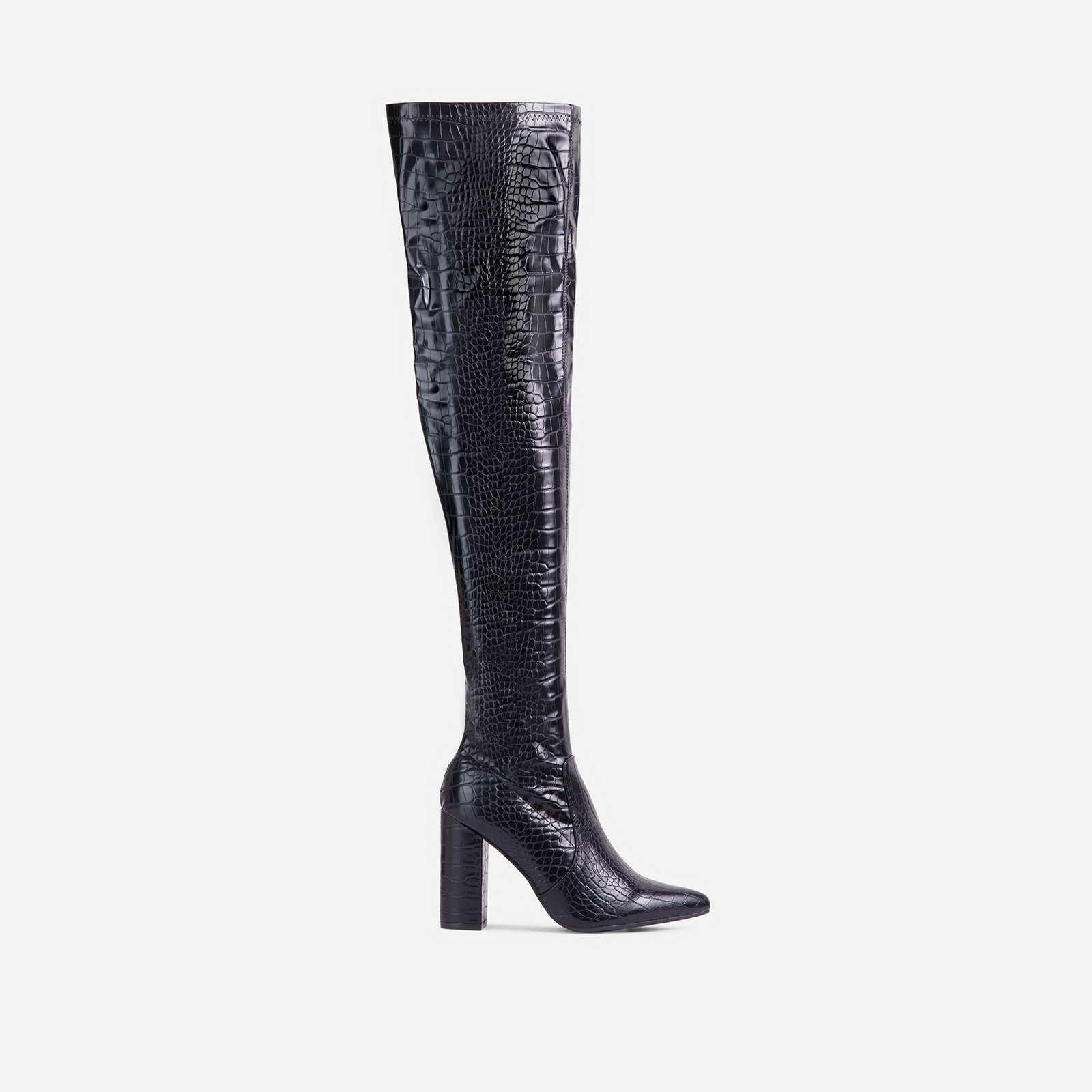 Kansas Block Heel Over The Knee Thigh High Long Boot In Black Croc Print Faux Leather