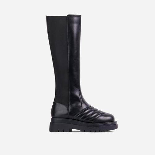 Jax Stitch Detail Chunky Sole Elasticated Knee High Long Biker Boot In Black Faux Leather
