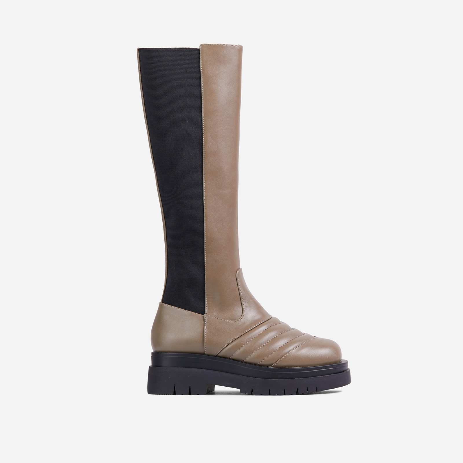Jax Stitch Detail Chunky Sole Elasticated Knee High Long Biker Boot In Khaki Green Faux Leather