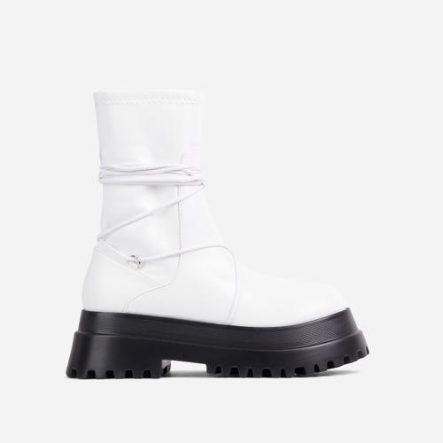 Ashe Lace Up Detail Chunky Sole Ankle Biker Boot In White Faux Leather