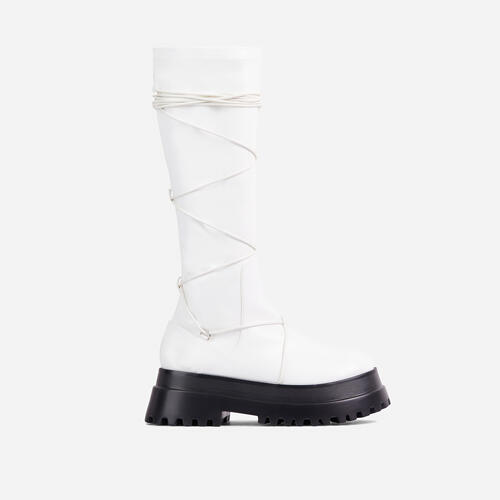 Akali Lace Up Detail Chunky Sole Knee High Long Biker Boot In White Faux Leather