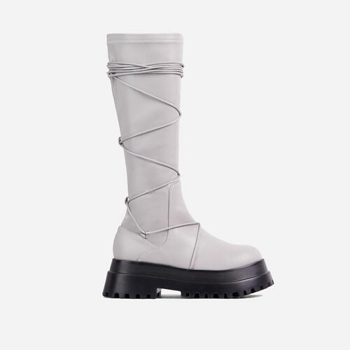 Akali Lace Up Detail Chunky Sole Knee High Long Biker Boot In Grey Faux Leather