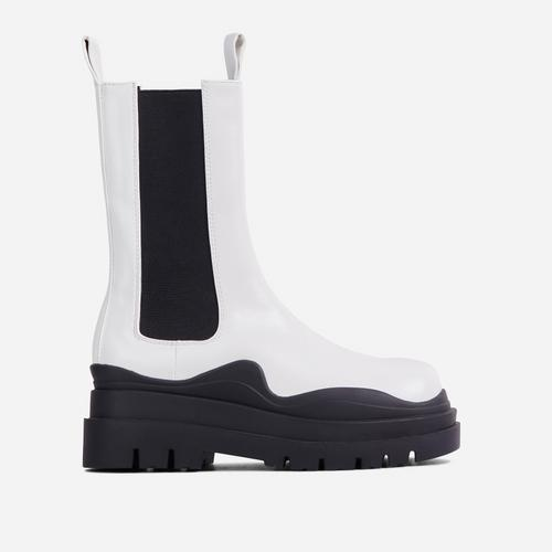 Energy Black Chunky Sole Ankle Chelsea Biker Boot In White Faux Leather