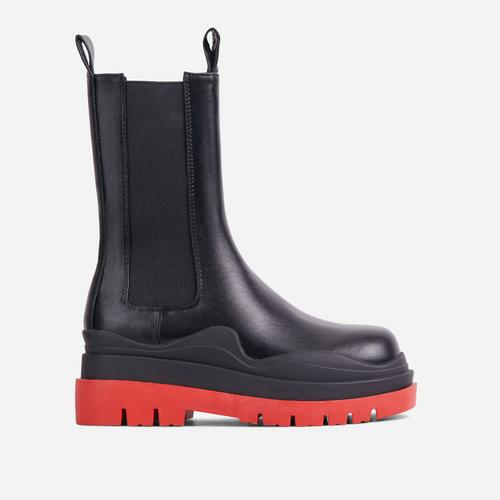 Energy Red Chunky Sole Ankle Chelsea Biker Boot In Black Faux Leather