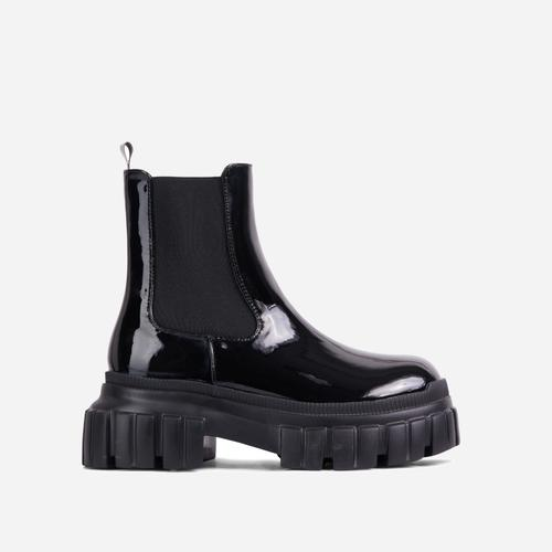 Endless Chunky Sole Ankle Chelsea Biker Boot In Black Patent
