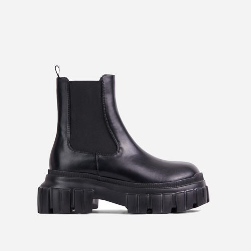 Endless Chunky Sole Ankle Chelsea Biker Boot In Black Faux Leather