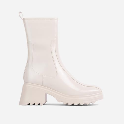 Rain-On-Me Block Heel Ankle Wellington Boot In Cream