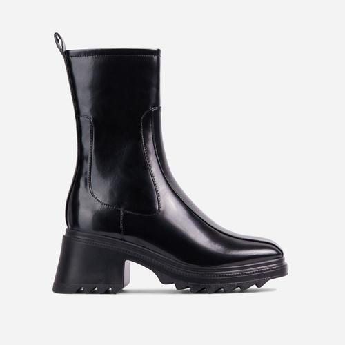 Rain-On-Me Block Heel Ankle Wellington Boot In Black